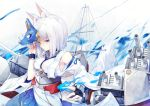 1girl animal_ears azur_lane bangs blue_eyes blunt_bangs eyeshadow fox_ears fox_mask fox_tail hakama_skirt japanese_clothes kaga_(azur_lane) kaga_(battleship)_(azur_lane) kimono kurenai_musume makeup mask rigging short_hair solo tail white_hair wide_sleeves