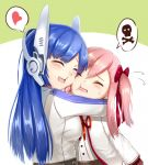 2girls artist_request blue_hair blush cheek-to-cheek commentary_request eyebrows_visible_through_hair girls_frontline glomp heart hug multiple_girls negev_(girls_frontline) pink_hair skull_and_crossbones speech_bubble tar-21_(girls_frontline) younger