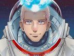 1boy astronaut blue_eyes helmet kurokiseow looking_at_viewer male_focus nanba_hibito portrait smile solo space spacesuit tears uchuu_kyoudai white_hair