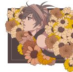 1boy absurdres black_hair brown_background choker flower headband highres jojo_no_kimyou_na_bouken kurokiseow male_focus messy_hair narancia_ghirga parted_lips profile solo two-tone_background upper_body vento_aureo white_background