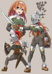 1girl :d ass axe blue_eyes bodysuit boots breasts brown_gloves gloves grey_background hair_between_eyes helmet highres holding holding_axe holding_shield holding_sword holding_weapon katahira_masashi long_hair looking_at_viewer multiple_views open_mouth original sheath sheathed shield simple_background smile spread_legs sword translated weapon