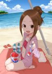 1girl alternate_hairstyle bangs barefoot beach beach_towel beach_umbrella bikini blue_sky brown_eyes brown_hair clouds cloudy_sky day drop_shadow feeding forehead hair_bun hand_up highres hood hoodie jacket karakai_jouzu_no_takagi-san kneeling looking_at_viewer navel ocean official_art open_clothes open_jacket open_mouth outdoors parted_bangs pink_bikini pink_bikini_bottom pink_bikini_top pink_jacket ramune sandals shaved_ice sky smile solo swimsuit takagi-san towel umbrella yamamoto_souichirou