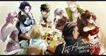 alfyn_(octopath_traveler) animal blonde_hair bracelet braid braided_ponytail brown_hair cloak cyrus_(octopath_traveler) dancer dress fringe_trim gloves green_eyes h'aanit_(octopath_traveler) hair_over_one_eye hat highres jewelry linde_(octopath_traveler) long_hair multiple_boys multiple_girls necklace octopath_traveler okii olberic_eisenberg open_mouth ophilia_(octopath_traveler) ponytail primrose_azelhart scarf short_hair simple_background smile snow_leopard therion_(octopath_traveler) tressa_(octopath_traveler) white_hair