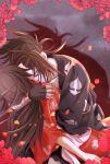 1boy 1girl brown_hair closed_eyes collarbone dororo_(tezuka) elysian-ka flower hetero highres hug hyakkimaru_(dororo) japanese_clothes kimono kiss long_hair mio_(dororo) petals ponytail prosthesis prosthetic_arm red_kimono shadow