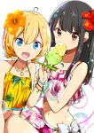 2girls ahoge bangs bikini black_hair blonde_hair blue_eyes blush bow brown_eyes chijou_noko chikanoko collarbone commentary_request eyebrows_visible_through_hair flower hair_between_eyes hair_flower hair_ornament highres holding jewelry long_hair looking_at_viewer multiple_girls nail_polish navel necklace open_mouth orange_flower ragho_no_erika red_eyes red_flower short_twintails skirt swimsuit twintails uchino_chika white_bow