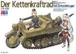 2girls absurdres bangs blonde_hair eyebrows_visible_through_hair german_clothes girls_frontline gloves ground_vehicle gun half-track hat highres kettenkrad kirochef long_hair machine_gun mg42 mg42_(girls_frontline) military military_hat military_uniform military_vehicle motor_vehicle motorcycle mp40_(girls_frontline) multiple_girls necktie open_mouth pleated_skirt ranguage rifle short_hair silver_hair skirt thigh-highs translation_request twintails uniform violet_eyes weapon