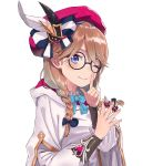 1girl absurdres beret black-framed_eyewear blue_bow blue_eyes blue_neckwear blush bow bowtie braid brown_hair closed_mouth feathers finger_to_mouth glasses hair_bow hands_up hat highres holding hood hood_down index_finger_raised jjeono long_hair looking_at_viewer noa_(seven_knights) one_eye_closed pink_headwear robe round_eyewear seven_knights shushing simple_background smile solo upper_body white_background wing_collar
