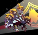 ! 1girl 3boys black_pants black_shirt black_shorts blurry blurry_background boots closed_mouth commentary crossed_arms dark_skin depth_of_field domino_mask emblem emperor_(splatoon) fangs frown hand_on_another's_back highres inkling jacket_on_shoulders leaning_forward long_sleeves mask multiple_boys n-pacer_(splatoon) open_mouth orange_eyes orange_hair orange_tongue pants pointing pointy_ears ponytail prince_(splatoon) running shirt shoes shorts smirk sneakers splatoon_(manga) splatoon_(series) spoken_exclamation_mark squidkid_jr. standing tentacle_hair ukata uniform v-shaped_eyebrows white_coat white_footwear