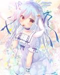 1girl arm_garter blue_bow blue_hair blue_ribbon bow brown_eyes character_request copyright_request crescent crescent_hair_ornament eyebrows_visible_through_hair flower gloves hair_bow hair_ornament hair_ribbon hand_to_own_mouth holding holding_flower long_hair looking_at_viewer mitsumomo_mamu ribbon short_sleeves solo very_long_hair white_gloves