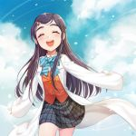 1girl :d black_hair blue_bow blue_neckwear blush bow bowtie closed_eyes clouds cowboy_shot floating_hair futari_wa_precure grey_skirt hair_ornament hairclip jacket labcoat long_hair miniskirt open_mouth orange_jacket outstretched_arms plaid plaid_skirt pleated_skirt precure rushi_(bloodc) school_uniform skirt smile solo standing striped striped_neckwear very_long_hair yukishiro_honoka