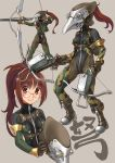 1girl arrow ass bangs bodysuit boots bow_(weapon) breasts brown_eyes brown_hair camouflage crossbow dual_wielding eyebrows_visible_through_hair glasses grey_background headwear_removed helmet helmet_removed highres holding holding_bow_(weapon) holding_weapon katahira_masashi leotard looking_at_viewer multiple_views original ponytail pouch simple_background smile thigh-highs translated weapon zipper