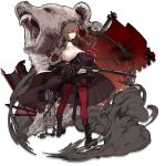 1girl animal_ears arknights axe bangs bear bear_ears black_choker black_footwear black_jacket black_legwear black_sailor_collar black_shirt blue_eyes boots breasts brown_hair brown_skirt choker cross-laced_footwear earphones earphones elite_ii_(arknights) expressionless from_behind full_body fur-trimmed_jacket fur_trim hair_between_eyes hand_up holding holding_axe jacket kneehighs lace-up_boots long_hair long_sleeves looking_at_viewer looking_back multicolored_hair off_shoulder official_art open_clothes open_jacket pantyhose pleated_skirt red_legwear red_neckwear redhead ribbed_legwear sailor_collar school_uniform serafuku shirt sidelocks skade skirt smoke solo standing streaked_hair tachi-e transparent_background v-shaped_eyebrows weapon white_jacket wind wind_lift zima_(arknights)
