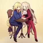 2girls :d black_ribbon black_vest blonde_hair blue_eyes blue_jacket blue_pants blue_suit braid brown_footwear chair chin_rest cosplay cravat cup eyebrows_visible_through_hair fate/apocrypha fate/grand_order fate_(series) formal gyakuten_saiban hair_ribbon hand_on_own_chin highres holding holding_cup jacket jeanne_d'arc_(fate) jeanne_d'arc_(fate)_(all) long_braid long_hair marie_antoinette_(fate/grand_order) mitsurugi_reiji mitsurugi_reiji_(cosplay) multiple_girls naruhodou_ryuuichi naruhodou_ryuuichi_(cosplay) necktie no-kan open_clothes open_jacket open_mouth pants red_jacket red_neckwear red_pants red_suit ribbon shoes silver_hair simple_background sitting smile suit suit_jacket table teacup twintails vest violet_eyes white_neckwear yellow_background