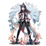 1girl animal_ear_fluff animal_ears arknights armband bag bangs black_capelet black_footwear black_gloves black_legwear black_shorts boots breasts brown_eyes capelet closed_mouth dual_wielding earrings elite_ii_(arknights) energy_sword expressionless fingerless_gloves full_body gloves grey_hair hair_between_eyes holding holding_sword holding_weapon huanxiang_heitu jacket jewelry long_hair looking_at_viewer medium_breasts multicolored_hair multiple_earrings multiple_straps official_art pantyhose pouch redhead short_shorts shorts shoulder_bag sidelocks solo sword tachi-e tail texas_(arknights) thigh_strap transparent_background weapon white_jacket wolf_ears wolf_tail