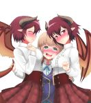 3girls anne_(shingeki_no_bahamut) blonde_hair blush breast_press breasts closed_eyes commentary_request dragon_girl dragon_horns dragon_tail dragon_wings dual_persona embarrassed granblue_fantasy grea_(shingeki_no_bahamut) green_eyes heart heart-shaped_pupils highres horns large_breasts long_hair looking_at_viewer manaria_friends multiple_girls pointy_ears purple_hair school_uniform shadowverse shingeki_no_bahamut short_hair simple_background symbol-shaped_pupils tail tail_grab time_paradox violet_eyes wavy_mouth white_background wings xiao_huang_(yellowbean) yuri