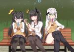 3girls architect_(girls_frontline) bench black_hair bubble_tea cellphone commentary_request crossed_legs cup disposable_cup drinking drinking_straw forest gager_(girls_frontline) girls_frontline green_eyes hair_ornament long_hair multiple_girls nature necktie orange_eyes ouroboros_(girls_frontline) park park_bench phone pink_eyes sangue_llia sangvis_ferri school_uniform side_ponytail skirt thigh-highs thighs tree twintails vest white_hair