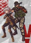 1boy 1girl ahoge assault_rifle bandana beard boots brown_hair camouflage camouflage_jacket camouflage_pants crossover emblem english_text eyepatch facial_hair fingerless_gloves flashlight gentiane_(girls_frontline) girls_frontline gloves gun handgun highlights highres knee_pads mechanical_arm metal_gear_(series) metal_gear_solid_v multicolored_hair pants persocon93 red_eyes redhead rifle scar scar_across_eye silver_hair suppressor tactical_clothes venom_snake weapon
