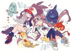 2girls artist_name auko baseball_cap black_legwear blue_eyes brown_hair deino_(pokemon) elgyem hat long_hair mei_(pokemon) multiple_girls pansear pantyhose poke_ball_print pokemon pokemon_(creature) pokemon_(game) pokemon_bw pokemon_bw2 ponytail print_hat scraggy touko_(pokemon) very_long_hair vest visor_cap white_background wristband