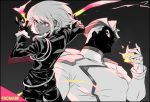 2boys back biker_clothes black_gloves black_jacket cravat fire frilled_sleeves frills gloves half_gloves jacket kray_foresight lio_fotia looking_back matahei monochrome multiple_boys open_mouth promare red_eyes shaded_face spoilers