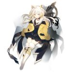 1girl animal_ear_fluff animal_ears arknights bangs black_choker black_dress blonde_hair blue_eyes blush boots breasts brown_eyes choker closed_mouth collared_dress dress elite_ii_(arknights) eyebrows_visible_through_hair floating_hair full_body gradient_hair hair_between_eyes hair_ornament hairclip heterochromia holding holding_staff knee_boots long_hair looking_at_viewer lpip multicolored_hair nightmare_(arknights) off-shoulder_sweater off_shoulder official_art sidelocks small_breasts smile solo staff sweater tachi-e thigh-highs transparent_background very_long_hair white_hair white_legwear wind