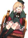 1girl :d armchair bangs black_bow black_ribbon blonde_hair blush bow cabbie_hat chair commentary_request dress dutch_angle eyebrows_visible_through_hair fate_(series) frilled_dress frills green_dress green_headwear green_legwear hands_up hat head_tilt highres kneehighs long_sleeves looking_at_viewer lord_el-melloi_ii_case_files on_chair open_mouth pom_pom_(clothes) reines_el-melloi_archisorte ribbon short_hair simple_background sitting sleeves_past_wrists smile solo tilted_headwear white_background wide_sleeves yuuuuu