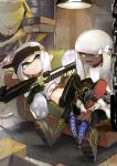 1boy 2girls armor bangs black_footwear black_legwear blunt_bangs boots closed_mouth commentary couch crop_top cross-laced_footwear dapple_dualies_(splatoon) dark_skin domino_mask fang green_footwear grey_eyes grey_hair hair_ornament half-closed_eyes hero_charger_(splatoon) high_tops highres holding holding_weapon indoors inkling lace-up_boots leggings light long_hair long_sleeves looking_at_another lying mask midriff multiple_girls on_back on_couch open_mouth pointy_ears shiganii_(splatoon) shima_(5p6p7p) shoes sideways_hat single_vertical_stripe sitting smile splatoon_(series) splatoon_2 sweater symbol_commentary tentacle_hair visor_cap weapon white_sweater