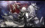 5boys 6+girls armor bertrand_(pixiv_fantasia_last_saga) blonde_hair cape crowd elf erika_lacy eye_contact flag gauntlets grey_cape grey_knight_julia highres horse horseback_riding laurel_knight_sylvester looking_at_another marigold_(pixiv_fantasia_last_saga) multiple_boys multiple_girls pixiv_fantasia pixiv_fantasia_last_saga pointy_ears polearm ponytail rabbit red_cape reins riding ryuuzaki_ichi standing weapon white_hair
