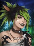 1girl animal_ears black_hair black_lips cat_ears choker eyepatch facial_mark fangs final_fantasy final_fantasy_xiv green_eyes green_hair highres jewelry lips looking_at_viewer miqo'te multicolored_hair necklace outdoors parted_lips short_hair signature solo tattoo two-tone_hair upper_body yra