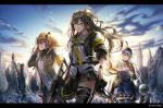 404_(girls_frontline) 4girls armband assault_rifle bangs beret black_legwear blue_sky blunt_bangs blush breasts brown_hair cityscape closed_eyes clouds facial_mark fingerless_gloves g11_(girls_frontline) girls_frontline gloves green_eyes gun h&k_g11 h&k_hk416 hair_between_eyes hair_ornament hairclip hat heckler_&_koch hk416_(girls_frontline) holding holding_gun holding_weapon hood hood_down hooded_jacket jacket letterboxed long_hair looking_at_viewer mechanical_arm medium_breasts military_jacket mod3_(girls_frontline) multiple_girls one-eyed open_mouth outdoors pantyhose plaid plaid_skirt red_eyes ribbon rifle ruins scar scar_across_eye shirt silence_girl silver_hair skirt sky smile sunrise teardrop thigh-highs twintails ump45_(girls_frontline) ump9_(girls_frontline) very_long_hair weapon yellow_eyes
