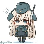 1girl asimo953 bangs blue_eyes blush chibi commentary_request cropped_jacket eyebrows_visible_through_hair flying_sweatdrops garrison_cap hair_between_eyes hat headgear kantai_collection long_hair long_sleeves looking_at_viewer military military_uniform pantyhose puffy_long_sleeves puffy_sleeves school_swimsuit simple_background solo standing swimsuit swimsuit_under_clothes u-511_(kantai_collection) uniform white_background white_hair