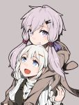 2girls ayakura_juu braid closed_mouth grey_background highres hood hoodie hug hug_from_behind image_sample kizuna_akari long_hair looking_at_viewer looking_up multiple_girls open_mouth purple_hair short_hair_with_long_locks simple_background smile twitter_sample violet_eyes vocaloid voiceroid white_hair yuzuki_yukari