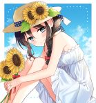 1girl bangs blue_eyes blush bow braid brown_hair clouds day dress flower hair_bow hat hat_flower holding holding_flower jewelry kantai_collection naoto_(tulip) red_bow remodel_(kantai_collection) ribbon ring shigure_(kantai_collection) single_braid sitting sky sleeveless sleeveless_dress smile solo sun_hat sundress sunflower white_dress