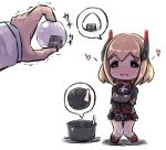 1girl azur_lane bangs black_footwear black_gloves black_jacket black_skirt blonde_hair blush boots brown_eyes chibi commander_(azur_lane) commentary_request eyebrows_visible_through_hair food gloves hands_together headgear heart holding holding_food jacket knees_together_feet_apart long_sleeves nose_blush onigiri out_of_frame own_hands_together parted_lips pleated_skirt roon_(azur_lane) skirt solo_focus spoken_food standing trembling u-non_(annon'an) v_arms wavy_mouth white_background