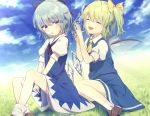 2girls :d ^_^ ascot bangs blue_bow blue_dress blue_eyes blue_hair blue_skirt blue_sky blue_vest bow brown_footwear cirno closed_eyes clouds commentary_request daiyousei day dress eyebrows_visible_through_hair fairy_wings feet_out_of_frame grass green_hair hair_between_eyes hair_bow hands_up ice ice_wings kisamu_(ksmz) light_rays loafers looking_at_viewer multiple_girls neck_ribbon one_side_up open_mouth outdoors parted_lips pinafore_dress puffy_short_sleeves puffy_sleeves red_neckwear red_ribbon ribbon shirt shoes short_dress short_hair short_sleeves sitting skirt skirt_set sky smile socks touhou vest white_legwear white_shirt wings yellow_bow yellow_neckwear