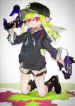 1girl :o bangs baseball_cap black_footwear black_headwear black_shirt black_shorts blunt_bangs blunt_ends boots commentary dapple_dualies_(splatoon) domino_mask drawstring dual_wielding green_hair gym_shorts hat highres holding holding_weapon hood hoodie ink_tank_(splatoon) inkling inkling_(language) kneeling long_hair long_sleeves looking_at_viewer mask open_mouth paint_splatter pointy_ears print_hat red_eyes shima_(5p6p7p) shirt short_shorts shorts sleeves_rolled_up solo splatoon_(series) splatoon_2 symbol_commentary tentacle_hair weapon