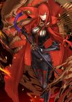 1girl black_gloves bodysuit boots breasts cape fate/grand_order fate_(series) gloves greaves grin hair_over_one_eye highres karlwolf katana long_hair looking_at_viewer oda_nobunaga_(maou_avenger)_(fate) red_eyes redhead sheath sheathed skull smile solo sword weapon
