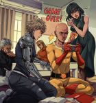 1girl 4boys absurdres air_conditioner apartment bald bang_(one-punch_man) bare_shoulders bedroom black_sclera black_sweater blonde_hair blush bodysuit book clenched_teeth closed_eyes curly_hair curtains cyborg dress english_commentary facial_hair fubuki_(one-punch_man) genos gloves green_dress green_eyes green_hair handheld_game_console highres indoors jewelry king_(one-punch_man) mechanical_arm mechanical_arms multiple_boys mustache necklace one-punch_man open_mouth pantyhose prosthesis red_footwear red_gloves ribbed_sweater saitama_(one-punch_man) scar scar_across_eye short_hair sitting standing sweater table tank_top teeth thisuserisalive turtleneck turtleneck_sweater window yellow_bodysuit