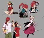 1boy 2girls asaya_minoru bangs barefoot black_bow black_footwear black_headwear boots bottle bow brown_eyes brown_hair closed_eyes drinking eyebrows_visible_through_hair family_crest fate/grand_order fate_(series) green_pants grey_background grey_eyes grin hair_between_eyes hair_bow hair_over_one_eye hakama hand_on_hip hat high_ponytail holding holding_bottle holding_sword holding_weapon japanese_clothes katana kimono koha-ace long_hair long_sleeves mori_nagayoshi_(fate) multiple_girls oda_nobunaga_(fate) oda_uri okita_souji_(fate) okita_souji_(fate)_(all) pants peaked_cap pink_hair pink_kimono ponytail profile red_hakama red_shirt redhead sharp_teeth shirt short_shorts short_sleeves shorts simple_background sitting smile standing sword teeth twitter_username very_long_hair weapon white_shirt white_shorts wide_sleeves