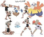 absurdres barefoot bodysuit butterfly_sitting clenched_hands dark_skin fighting_stance gen_1_pokemon gen_3_pokemon grey_eyes grey_hair hairband handstand hariyama highres hitmonchan hitmontop kicking meditation meditite pokemon pokemon_(game) pokemon_swsh punching saitou_(pokemon) shorts sweat white_background