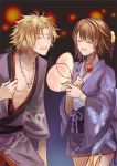 1boy 1girl blonde_hair brown_hair commentary_request final_fantasy final_fantasy_x hair_ornament japanese_clothes kimono open_mouth sasanomesi short_hair smile tidus yuna_(ff10)