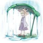 1girl asutora black_eyes blonde_hair brown_footwear brown_headwear commentary_request full_body grass hair_ribbon leaf long_sleeves moriya_suwako purple_skirt purple_vest rain red_ribbon ribbon shirt shoes short_hair skirt skirt_set sleeves_past_fingers sleeves_past_wrists solo standing touhou vest water white_background white_shirt wide_sleeves