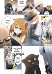 2boys 404_(girls_frontline) 4girls absurdres bald brown_hair cat doll firing g11_(girls_frontline) girls_frontline guard gun hat highres hk416_(girls_frontline) korean_text lolita_fashion mini_hat multiple_boys multiple_girls pillow scar scar_across_eye shey_kr smile top_hat ump45_(girls_frontline) ump9_(girls_frontline) weapon younger