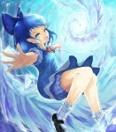 1girl black_footwear bloomers blue_bloomers blue_bow blue_dress blue_eyes blue_hair blue_shirt bow bowtie cirno dress floating folded_leg foreshortening hair_bow highres ice looking_at_viewer mary_janes medium_hair open_hand open_mouth outstretched_arms pinafore_dress pointy_ears puffy_short_sleeves puffy_sleeves red_neckwear shirt shoes short_sleeves socks solo spread_arms touhou umiya_mizuki underwear upper_teeth white_legwear