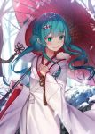 1girl blue_eyes blue_hair closed_mouth day floating_hair hair_ornament hatsune_miku highres holding holding_umbrella japanese_clothes kimono long_hair long_sleeves oriental_umbrella outdoors ran9u red_umbrella smile snow_bunny solo standing umbrella vocaloid white_kimono wide_sleeves yuki_miku