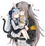 2girls animal_ears aoi_(aoisaka) bangs black_headwear blunt_bangs blush cat_ears closed_eyes commentary_request eyebrows_visible_through_hair facial_mark fake_animal_ears fake_tail girls_frontline hair_ornament hk416_(girls_frontline) holding jacket long_hair multiple_girls one_side_up scar scar_across_eye shirt silver_hair tail ump45_(girls_frontline) white_shirt younger