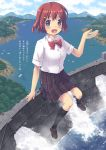 1girl aki_(akisora_hiyori) aqua_eyes black_legwear blue_sky blush boat bow bowtie brown_footwear brown_hair building car clouds collar commentary_request dam eyebrows_visible_through_hair from_above full_body giantess ground_vehicle hair_ornament hairclip highres holding in_palm kneehighs lake landscape loafers motor_vehicle mountain mountainous_horizon open_hand open_mouth original palms personification plaid plaid_skirt red_bow red_neckwear school_uniform shirt shoes short_hair short_sleeves sitting size_difference skirt sky smile solo translation_request tree uniform water watercraft white_collar white_shirt