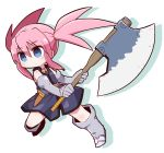 1girl axe bangs bare_shoulders blue_dress blue_eyes blush boots closed_mouth colored_shadow commentary_request dress drop_shadow elbow_gloves eyebrows_visible_through_hair full_body gloves grey_footwear grey_gloves hair_between_eyes highres holding holding_axe knee_boots looking_away naga_u pink_hair presea_combatir shadow sidelocks sleeveless sleeveless_dress solo tales_of_(series) tales_of_symphonia twintails white_background