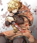 1boy belt blonde_hair blood blood_splatter bloody_weapon fighting_stance highres holding holding_knife hood hood_down imo_(evekelu-111) knife long_sleeves looking_at_viewer male_focus mouth_hold slashing solo splatter_foreground standing thorfinn vinland_saga weapon yellow_eyes