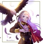 1girl bird blonde_hair cape eagle edelgard_von_hresvelgr_(fire_emblem) feathers fire_emblem fire_emblem:_three_houses gloves hair_ribbon long_hair long_sleeves m1n0f2e1 ribbon simple_background solo twitter_username uniform upper_body white_background white_gloves