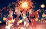 4girls alternate_costume anchor bismarck_(kantai_collection) blonde_hair blue_eyes blush brown_eyes brown_hair eyebrows_visible_through_hair festival fireworks floral_print flower hair_between_eyes hair_flower hair_ornament highres japanese_clothes kantai_collection kimono kirihota long_hair looking_at_viewer multiple_girls night night_sky open_mouth print_kimono prinz_eugen_(kantai_collection) redhead short_hair sky smile twintails yukata z1_leberecht_maass_(kantai_collection) z3_max_schultz_(kantai_collection)